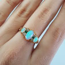 turquoise opal engagement rings antique three stone opal diamond and emerald ring in yellow gold