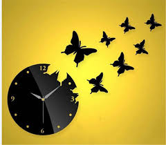 himerus mordern patchwork diy art home decor wall clock butterfly