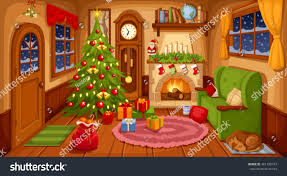 Christmas Living Room by Vector Illustration Christmas Living Room Sofa Stock Vector