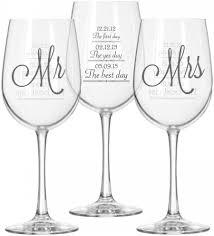 wedding gift glasses mr and mrs wine glasses 2 with day yes day and best day