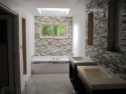 bathroom tile black backsplash blue glass tile bathroom