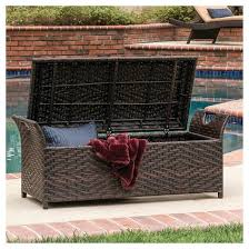 Outdoor Storage Bench Wing Wicker Patio Storage Bench Multi Brown Christopher Knight