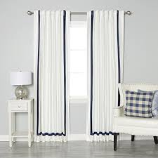 Black Ivory Curtains Best Home Fashion Navy Border Faux Silk Ivory Insulated Thermal