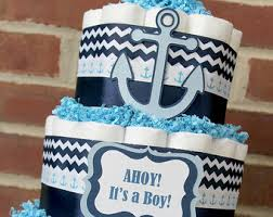Anchor Decorations For Baby Shower Nautical Diaper Cake Nautical Baby Shower Sailboat Theme
