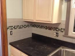 subway tile backsplash with glass tile accent love my kitchen