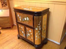 Asian Bar Cabinet Vintage Asian Lacquer Gold Leaf Painted