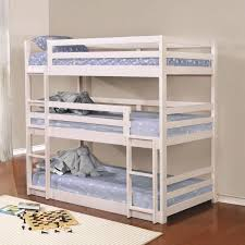 Triple Bunk Bed Designs Adorable White Triple Bunk Bed With All Three Mattresses