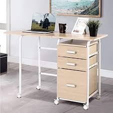 portable kitchen cabinets for small apartments patiojoy folding computer desk wheeled home office furniture with 3 drawers laptop desk writing table portable apartment space saving compact
