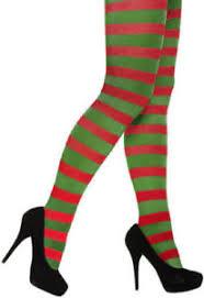 christmas elf red green striped tights fancy dress festive