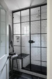 Building A Shower Bench White Subway Tiled Shower Bench With Black Seat Design Ideas