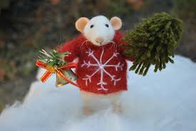 christmas mouse needle felted animal felted ornament xmas gift