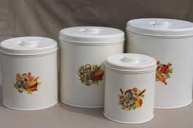 vintage kitchen canisters kitchen canisters metal canister set tins w retro decals