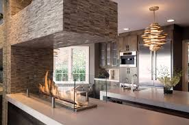 design faux brick with electric fireplace white country kitchen
