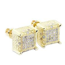 mens earrings ct diamond earrings cubes 10k yellow gold square 9mm wide