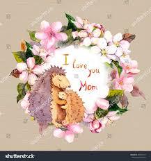 mother hedgehog hugs her child blooming stock illustration