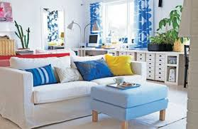 cool living room design with nice yellow an d blue cushions color