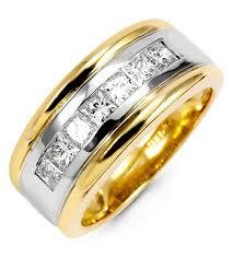 two tone mens wedding band mens princess cut 1 19ct diamond 14k two tone band ring wedding
