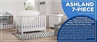 amazon com serta ashland 7 piece nursery furniture set with free