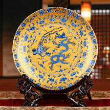 fengshui royal ceramic ornamental plate dragons plate