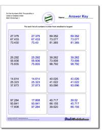 fractions from least to greatest worksheet u0026 number names
