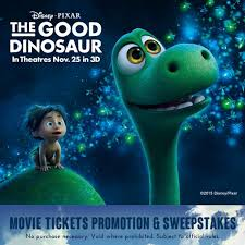 the good dinosaur movie tickets promotion sweepstakes and free
