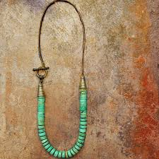 leather necklace turquoise stone images Beaded necklace with dyed howlite stone on leather cord and side jpg