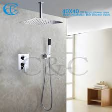 2017 bathroom shower mixer faucet set 16 inch ceil mounted rain