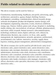 Electronics Resume Sample by Top 8 Electronics Sales Resume Samples