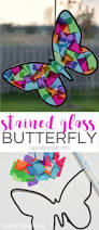 stained glass butterfly craft black construction paper