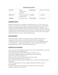 Chef Job Description Resume by Assistant Assistant Manager Job Description Resume