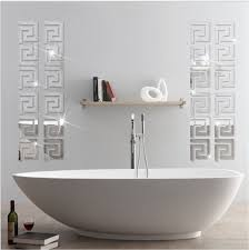 mirror tiles for bathroom walls acrylic mirror wall stickers geometric greek key pattern acrylic