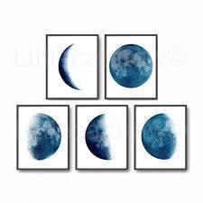 Art Home Moon Phase Print Set Of 3 Watercolor Painting Print Wall Art