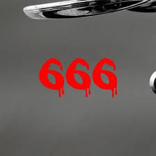 Satanic Home Decor Macbook Auto Bike Bloody 666 Satanic Number Of The Beast Wall Die