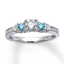 blue and white engagement rings light blue diamonds 7 8 ct tw engagement ring 14k white gold