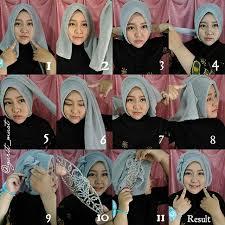 tutorial jilbab dua jilbab cara memakai jilbab pesta segi empat 2 remaja update remaja update