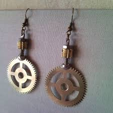 creative earrings recycled steunk style gear earrings from clockwork 2