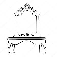 big standing mirror vintage interior sketch u2014 stock vector