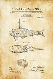 Cabin Decor Fishing Bait Patent 1908 Patent Print Wall Decor Fishing Lure