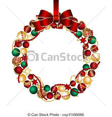 clip art vector of christmas wreath decoration from christmas