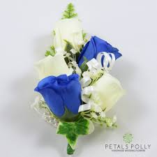 royal blue corsage royal blue ivory wrist corsage with crystals and