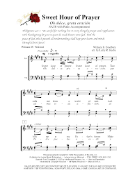 spanish thanksgiving prayer sweet hour of prayer satb w piano acc lm1005