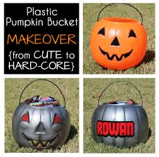 plastic pumpkin bucket makeover from cute to hard core