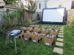 movie night in backyard outdoor furniture design and ideas