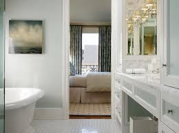 bathrooms spa blue gray walls marble basketweave tiles floor