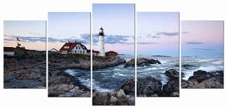 lighthouse home decor amazon com wieco art portland lighthouse 5 panels modern canvas