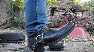 motorcycle harness boots stomping a vcr in frye harness boots youtube
