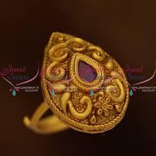 antique gold rings images F8685 floral nakshi matte antique gold finish adjustable finger JPG