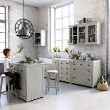 meuble cuisine zinc meuble bas de cuisine en bois d acacia gris l 90 cm maisons du monde