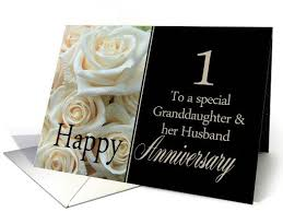 1st anniversary card for granddaughter husband pale pink roses