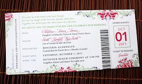 ticket wedding invitations pink purple green swirl flower dot airline ticket wedding